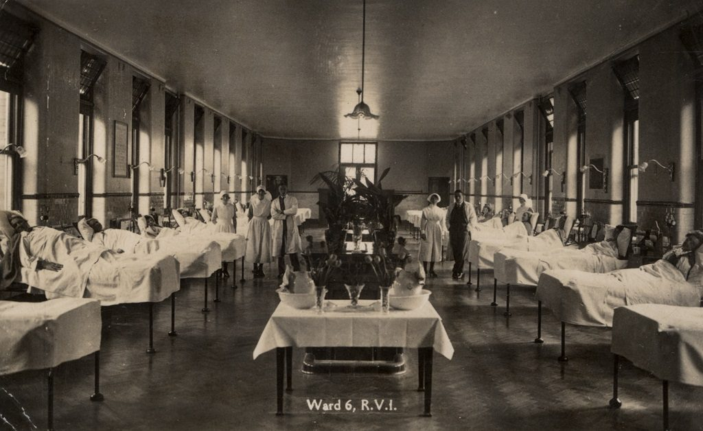 Type : Photograph Medium : Print-black-and-white Description : A postcard of the Royal Victoria Infirmary Newcastle upon Tyne taken c.1930. The photograph shows the interior of Ward 6 of the hospital. Patients are lying in beds which line the walls. There is a row of tables in the centre of the room decorated with vases of flowers and pot plants. A group of nurses and doctors are standing in a line across the centre of the room.Hospitals Collection : Local Studies Source of Information : Postcard donated in 1985 by Mr. G. Clark City Engineers Photographic Department. Printed Copy : If you would like a printed copy of this image please contact Newcastle Libraries www.newcastle.gov.uk/tlt quoting Accession Number : 046122